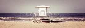California Lifeguard Tower Retro Panoramic Picture