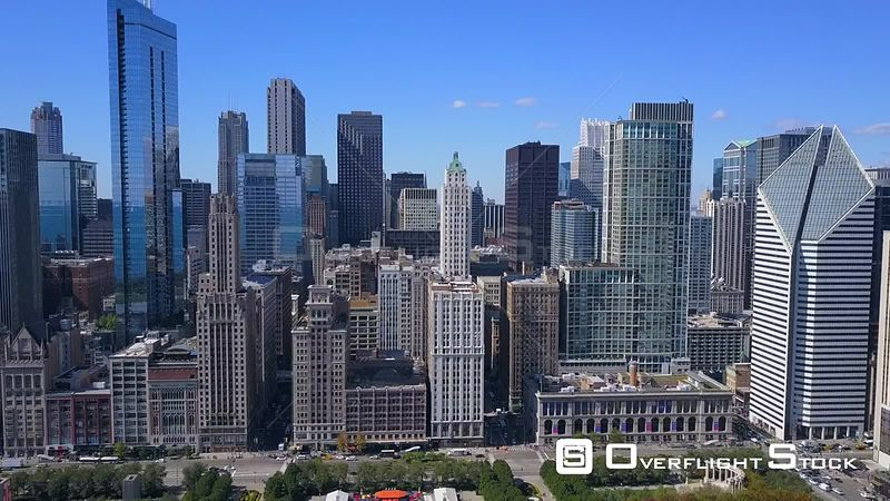 Drone Video Downtown from Millenium Park Chicago Illinois USA