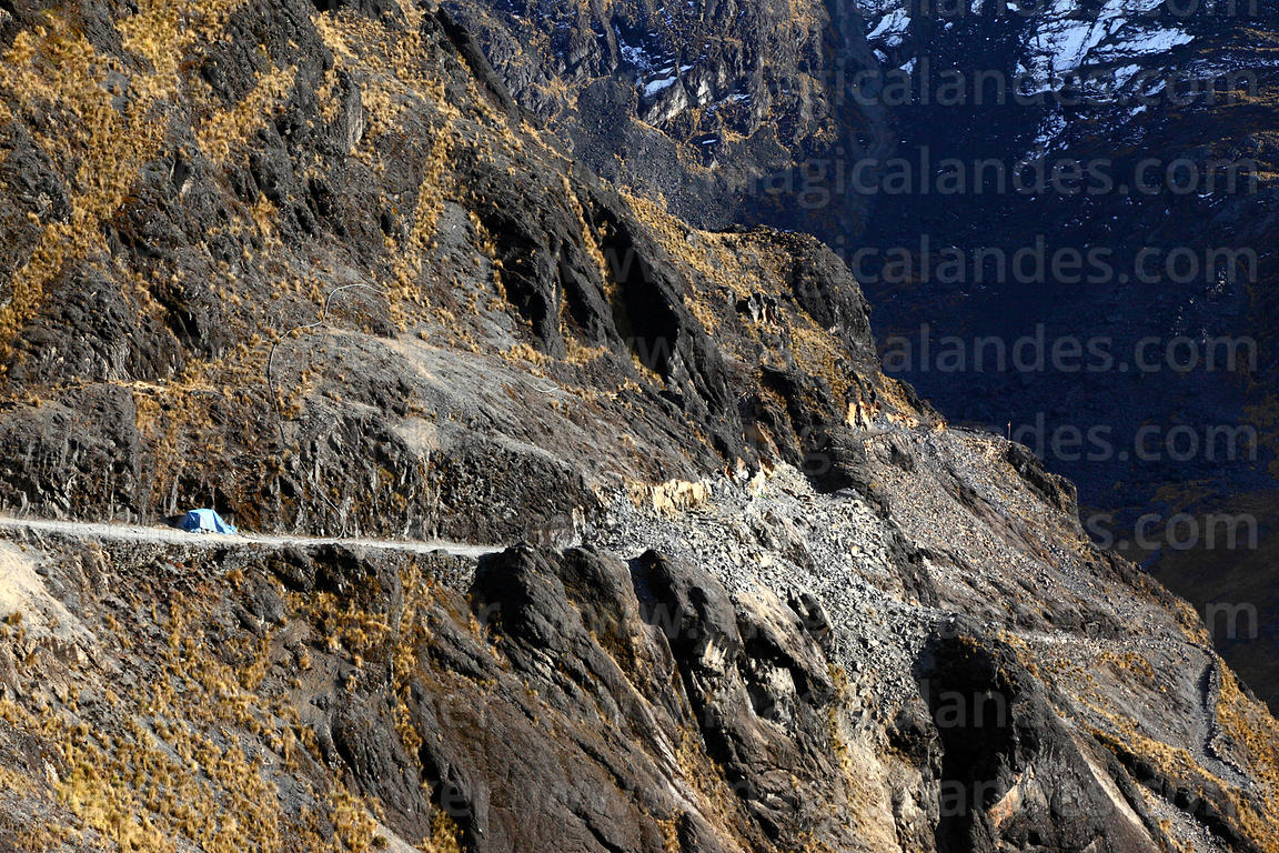 Damage to El Choro Inca trail caused by rockfall from road construction, Cotapata National Park, Bolivia