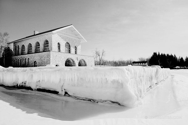 BOATHOUSE WINTER ROCK ISLAND STATE PARK DOOR COUNTY WISCONSIN FROZEN LAKE BLACK AND WHITE