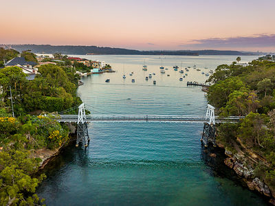 Little narrow cove in Sydney Harbour called Parsley Bay with a distinctive pedestrian bridge. NSW Australia