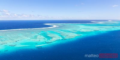 Panoramic aerial view of Malolo barrier reef, Mamanucas islands, Fiji
