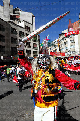 Khaisallo figure taking part in parades at Gran Poder festival with waca tokoris dance group, La Paz, Bolivia