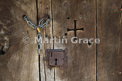 Old wooden barn door, Espinama, Cantabria, Spain