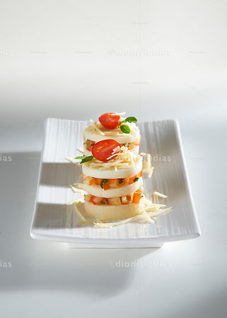 Pupunha Palms Bruschetta Isolated on white background