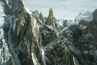 Aerial view of Trango towers in the Karakoram Mountains, Himalayas, Pakistan, from Pakistani military helicopters for BBC ser...