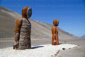 Modern statues of Chinchorro mummies, Quebrada Camarones, Region XV, Chile
