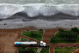 Water tanker belonging to City Hall on beach, Costa Verde, Miraflores, Lima, Peru
