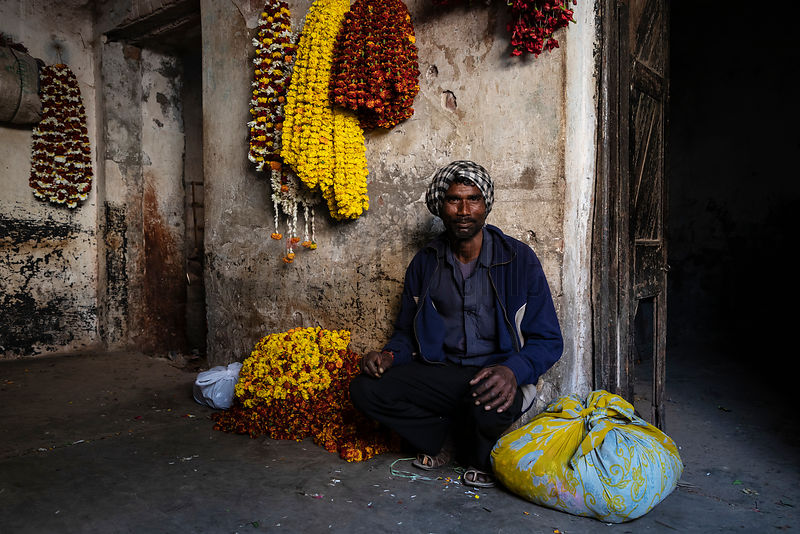 Portrait of a Worker at the Varanasi Wholesale Flower Market
