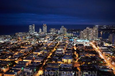 Aerial USA Florida Miami Evening