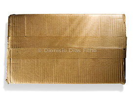 Sealed rectangular cardboard box with adhesive tape