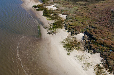 Aerial view of the Sado Estuary Nature Reserve, Portugal, November 2007