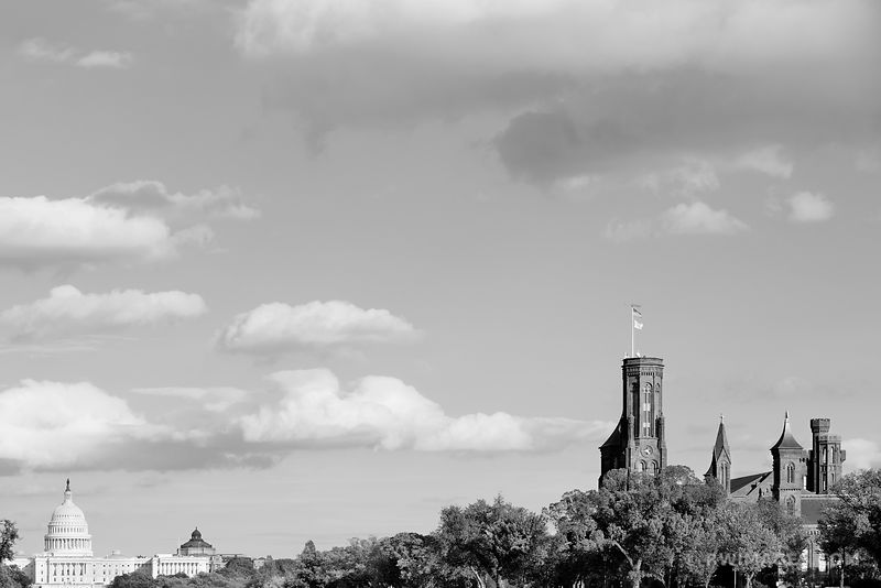 US CAPITOL AND SMITHSONIAN CASTLE NATIONAL MALL WASHINGTON DC BLACK AND WHITE