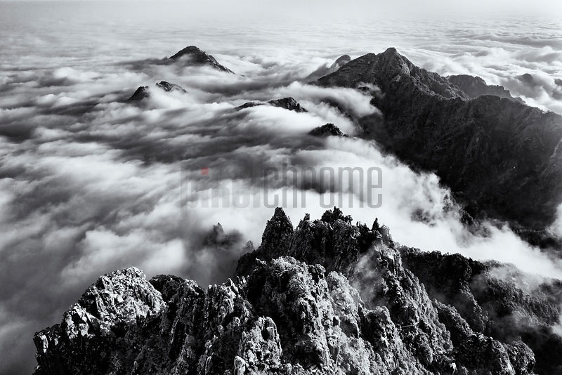 Aerial View of the Huangshan Mountains and the Sea of Clouds