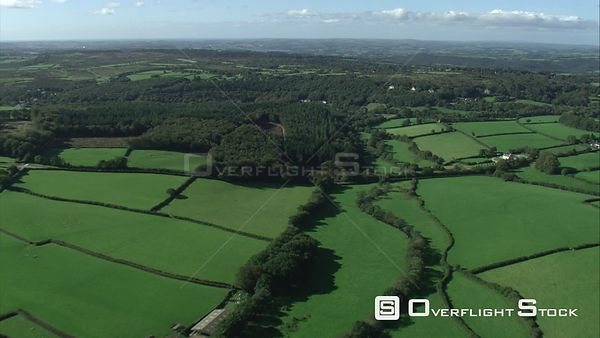 Aerial view tracking over Meavy, Dartmoor National Park, Devon, England, UK, October 2015.