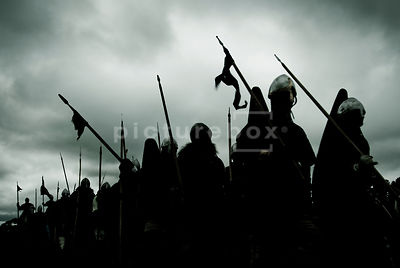 An atmospheric image of French troops marching to the battle of Hastings, England, 1066.