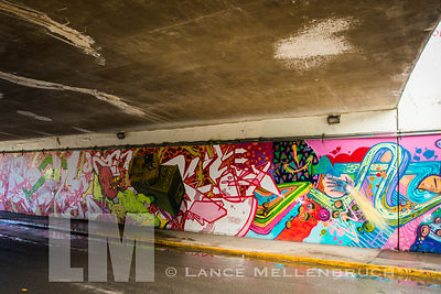 Graffiti adorned walls of underpass