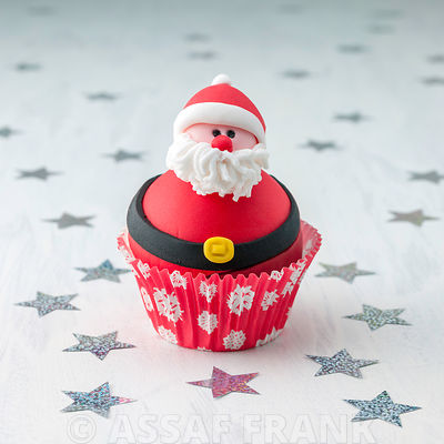 Beautifully decorated Christmas cupcake