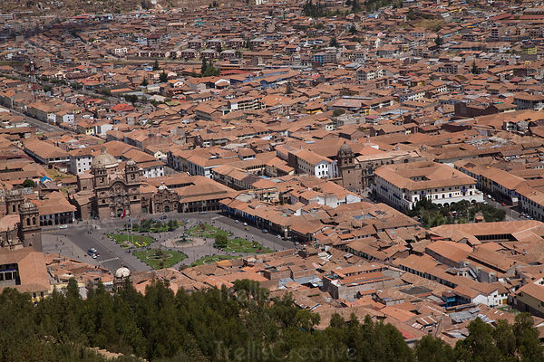 View of Plaza de Armas and Jesuit Church, Cusco Region, Peru