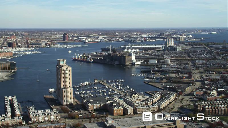 Flying over waterfront of Inner Harbor in Baltimore, Maryland. Shot in November