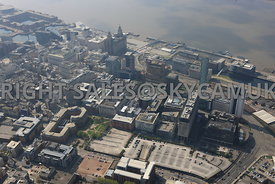 Liverpool the Plaza and Pall Mall Business District of central Liverpool looking towards Liverpool Port Docklands developments