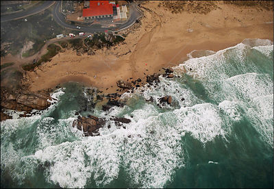 SPAIN Near Punta Faglida -- 15/12/2002 -- Aerial view of a polluted beach near Punta Faglida on the Galician coast.