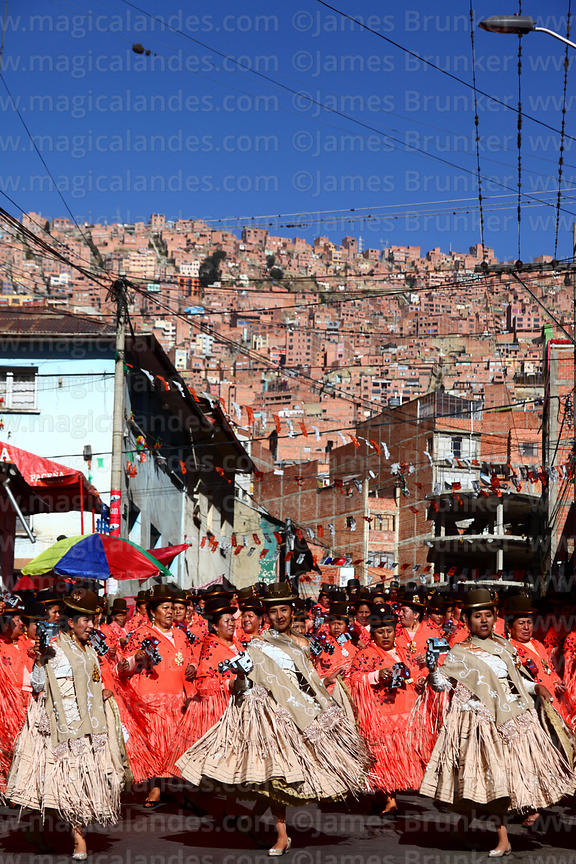 Cholitas dancing the morenada during Gran Poder festival, La Paz, Bolivia