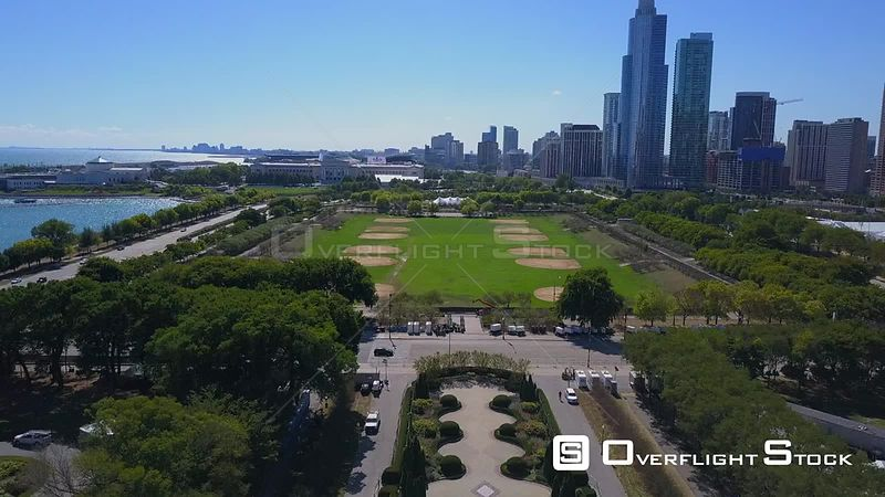 Lower Hutchinson Field Drone Video Downtown Chicago Illinois USA