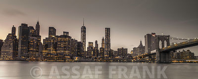 Evening shot of Lower Manhattan skyline, New York