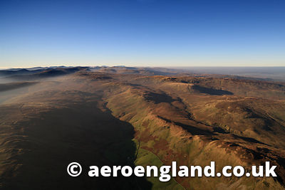 aerial photograph of High House Bank , Fawcett Forest in the Lake District Cumbria England UK