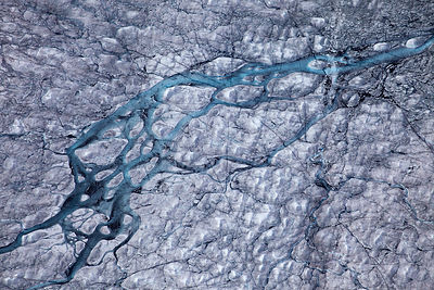 Aerial view of ice cap north-east of Sermeq Kujalleq Glacier, Ilulissat Icefjord UNESCO World Heritage Site, Sermersuaq / Gre...
