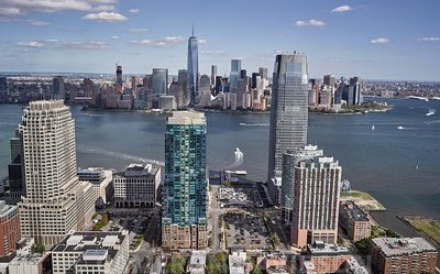 Aerial photograph of the Financial District in NYC
