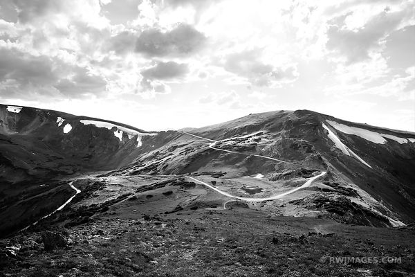 OLD FALL RIVER ROAD NEAR ALPINE VISITOR CENTER ROCKY MOUNTAIN NATIONAL PARK COLORADO BLACK AND WHITE