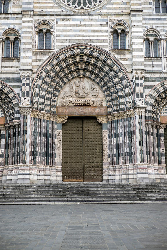 The Facade Of The Duomo Di San Lorenzo Genoa