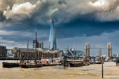 Storm looming over The Shard and Tower Bridge