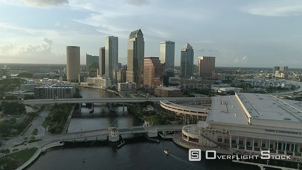 Drone Footage of Tampa Florida City Center Skyline and Convention Center