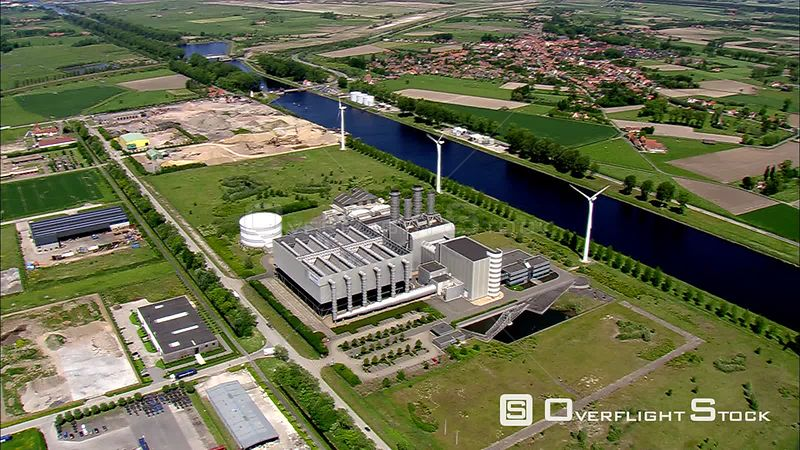 Flying over an industrial area near a canal in Belgium