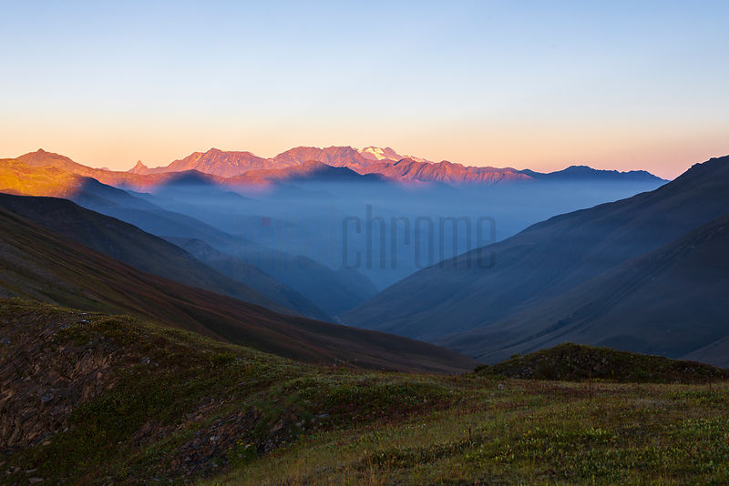 Mountain Views from the Top of a Pass near Ushguli