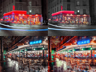 Collage of cafes in Paris