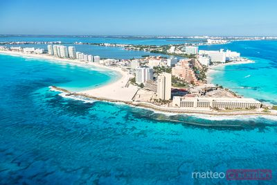 Aerial view of punta Cancun and caribbean sea, Mexico