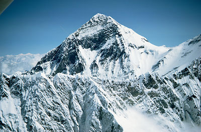 Aerial view of Mt Everest (from Nepalese side) with Lhotse ridge in fore ground, Himalayas, Nepal