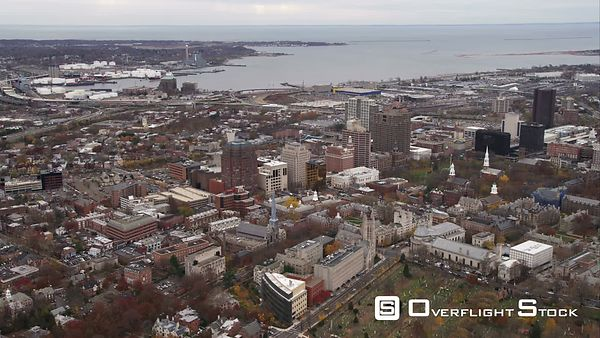 Flying Over New Haven Green Toward Harbor in New Haven, Connecticut. Shot in November