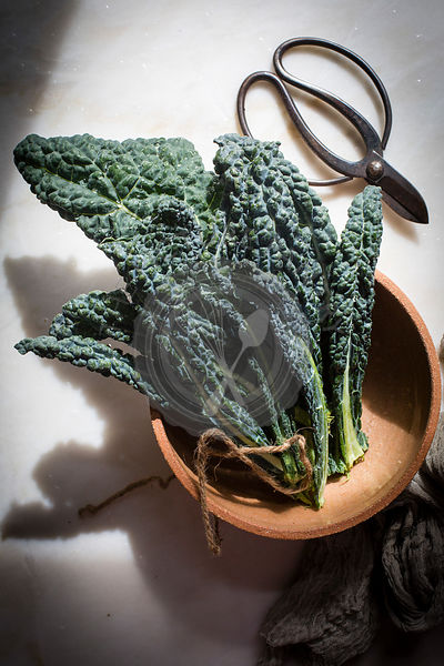 Fresh kale in a ceramic bowl on a marble table on top view