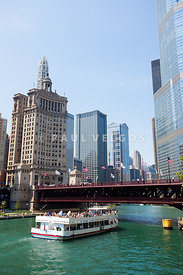 Chicago Tour Boat at Michigan Avenue Bridge