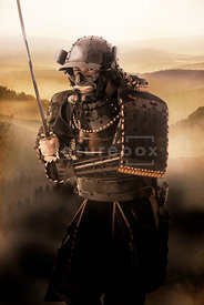 An atmospheric image of a Samurai Warrior approaching with a sword.