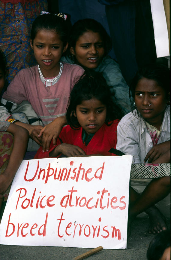 India - Delhi - Child workers at a demonstration