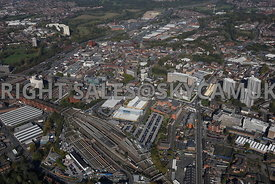 Stockport aerial photograph looking from Stockport railways station towards the town centre