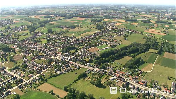 Suburban community amid fields in East Flanders, Belgium