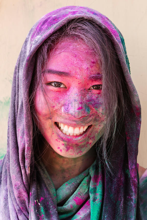 Melissa Hom Covered in Colored Powder from Holi Celebrations