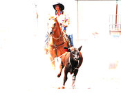 Artistic image of rodeo cowgirl on horse
